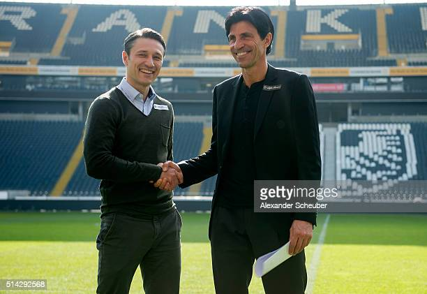 Niko Kovac is presented as the new head coach of Eintracht Frankfurt by Manager Bruno Huebner during a press conference at CommerzbankArena on March...