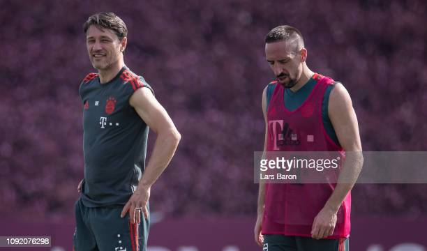 Niko Kovac is seen with Franck Ribery during a training session at day five of the Bayern Muenchen training camp at Aspire Academy on January 07 2019...
