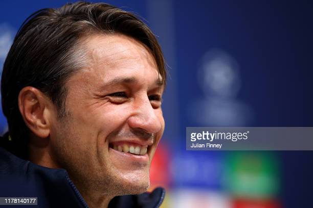 Niko Kovac Manager of Bayern Muenchen speaks with the media during the Bayern Muenchen Press Conference ahead of the UEFA Champions League group B...