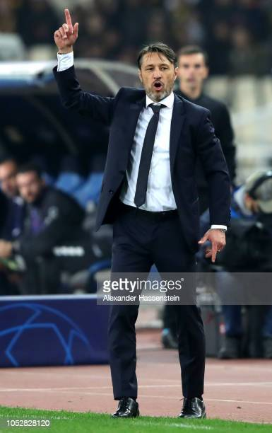 Niko Kovac Manager of Bayern Munich gives his team instructions during the Group E match of the UEFA Champions League between AEK Athens and FC...