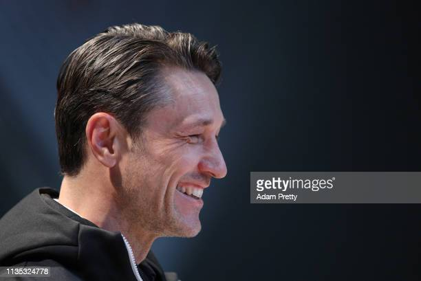 Niko Kovac Manager of Bayern Munich looks on during a Bayern Muenchen press conference at Allianz Arena on March 12 2019 in Munich Germany
