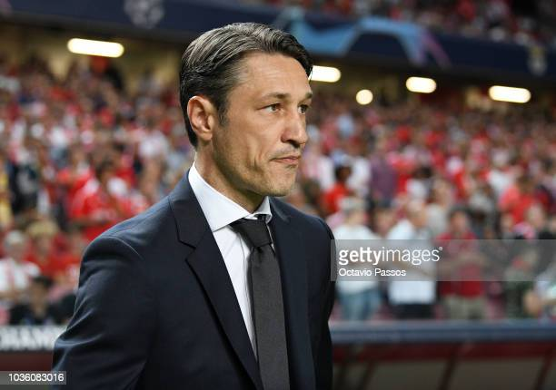 Niko Kovac Manager of Bayern Munich looks on prior to the Group E match of the UEFA Champions League between SL Benfica and FC Bayern Muenchen at...