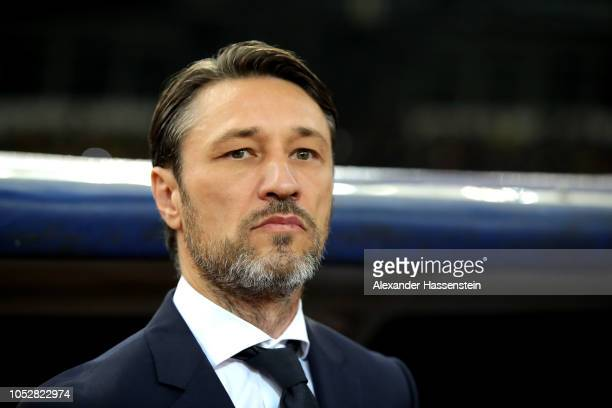 Niko Kovac Manager of Bayern Munich looks on prior to the Group E match of the UEFA Champions League between AEK Athens and FC Bayern Muenchen at...