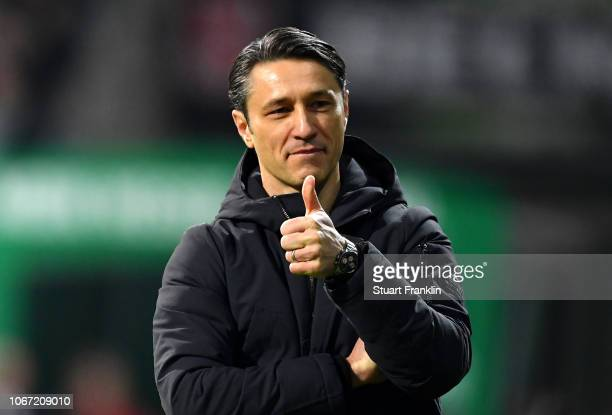 Niko Kovac Manager of Bayern Munich reacts during the Bundesliga match between SV Werder Bremen and FC Bayern Muenchen at Weserstadion on December 1...