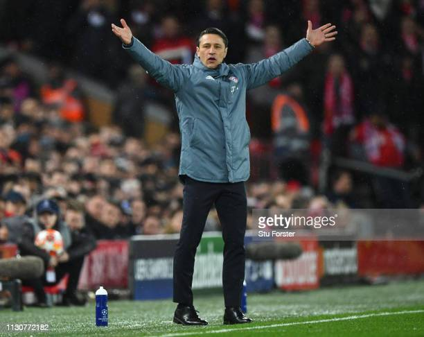 Niko Kovac Manager of Bayern Munich reacts during the UEFA Champions League Round of 16 First Leg match between Liverpool and FC Bayern Muenchen at...