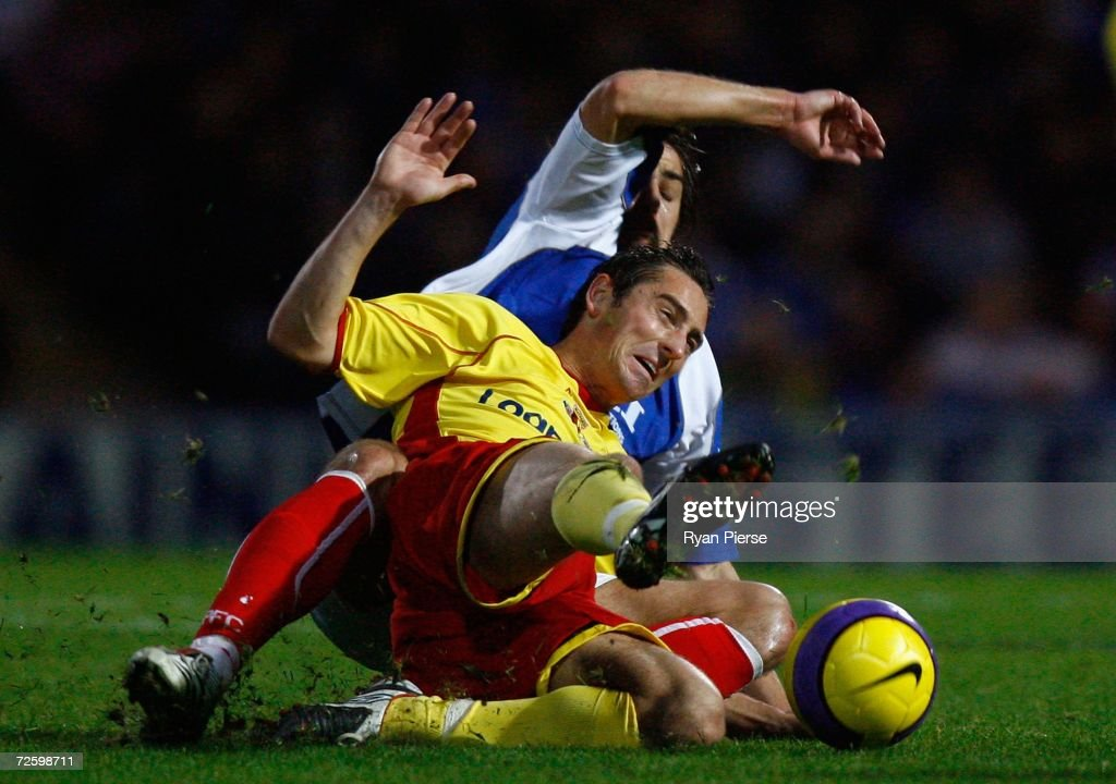 Niko Kranjcar of Portsmouth (L) tackles Tommy Smith (R) of Watford during the Barclays Premiership match between Portsmouth and Watford at Fratton Park on November 18, 2006 in Portsmouth, United Kingdom.