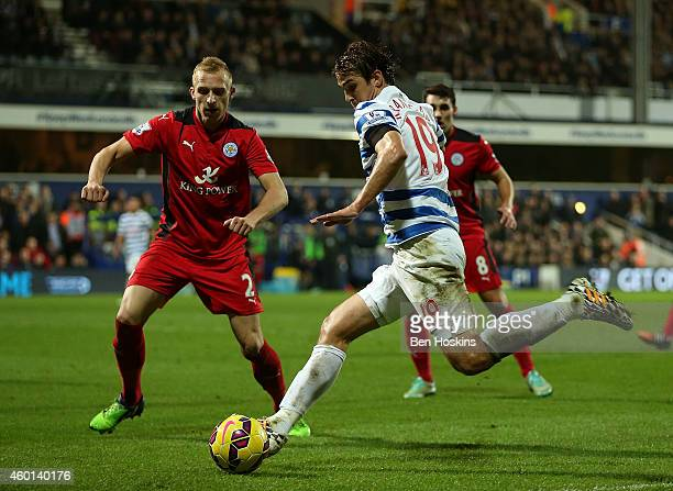 Niko Kranjcar of QPR looks to cross the ball during the Premier League match between Queens Park Rangers and Leicester City at Loftus Road on...