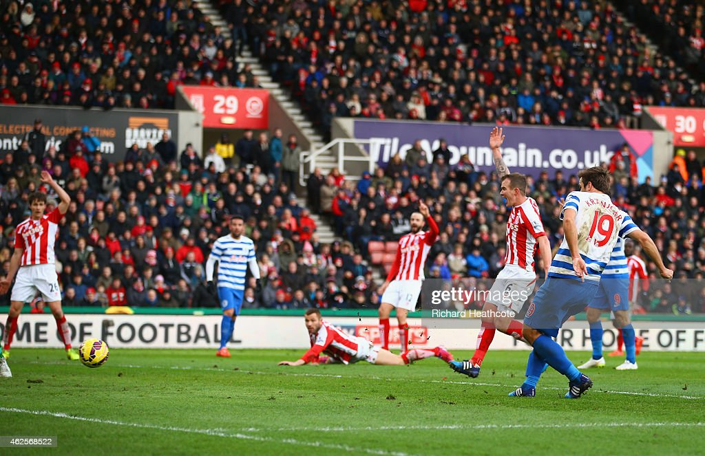 Niko Kranjcar of QPR scores their first goal during the Barclays Premier League match between Stoke City and Queens Park Rangers at Britannia Stadium on January 31, 2015 in Stoke on Trent, England.