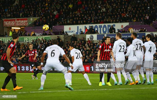 Niko Kranjcar of QPR shoots from a free kick during the Barclays Premier League match between Swansea City and Queens Park Rangers at Liberty Stadium...