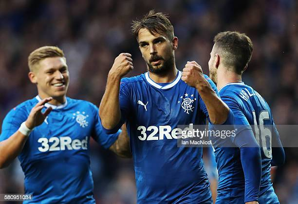 Niko Kranjcar of Rangers celebrates after he scores his team's third goal during the Betfred Cup match between Rangers and Stranraer at Ibrox Stadium...