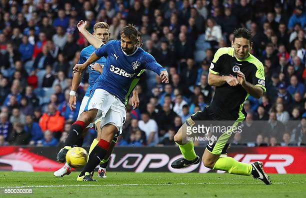 Niko Kranjcar of Rangersscores his team's third goal during the Betfred Cup match between Rangers and Stranraer at Ibrox Stadium on July 25, 2016 in...