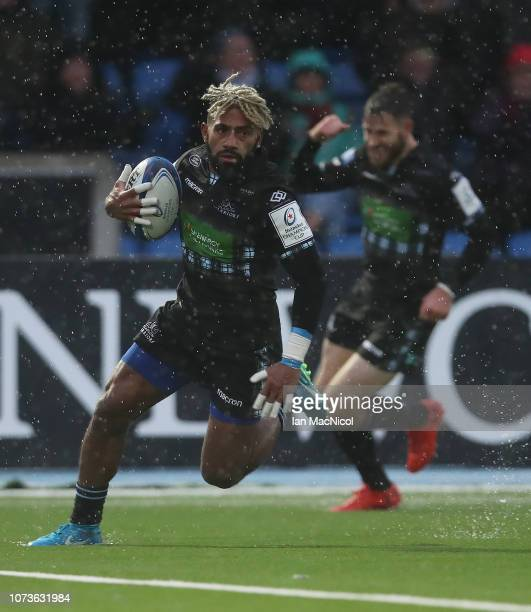 Niko Matawalu of Glasgow Warriors runs in his second try during the Champions Cup match between Glasgow Warriors and Lyon Olympique Universitaire at...