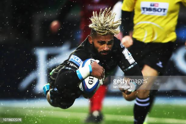 Niko Matawalu of Glasgow Warriors scores his side's second try during the Champions Cup match between Glasgow Warriors and Lyon Olympique...