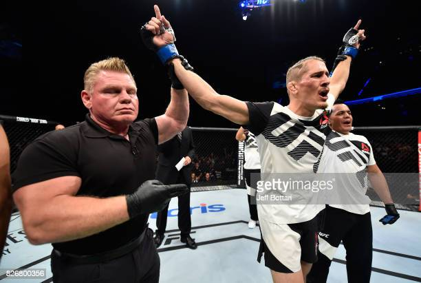 Niko Price celebrates his two victory over Alan Jouban in their welterweight bout during the UFC Fight Night event at Arena Ciudad de Mexico on...