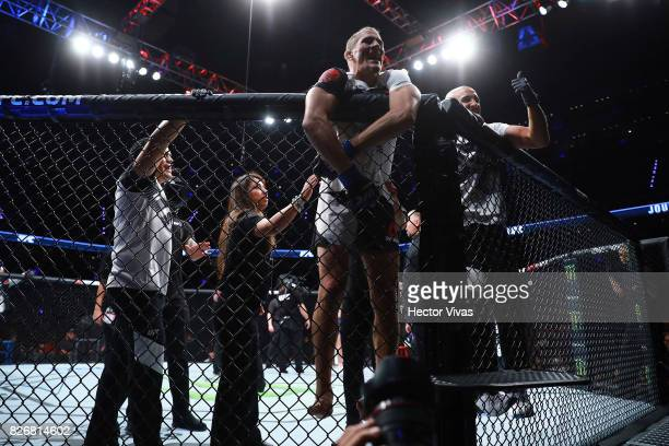 Niko Price celebrates his victory against Alan Jouban during the UFC Fight Night Mexico City at Arena Ciudad de Mexico on August 05 2017 in Mexico...
