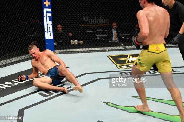Niko Price is dropped by a punch from Vicente Luque in their welterweight fight during the UFC 249 event at VyStar Veterans Memorial Arena on May 09...