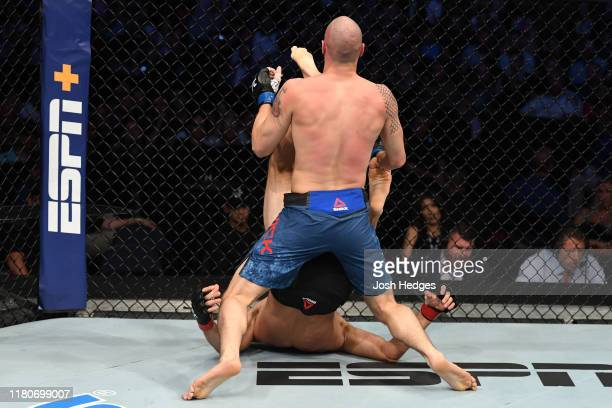 Niko Price knocks out James Vick with an upkick in their welterweight bout during the UFC Fight Night event at Amalie Arena on October 12 2019 in...