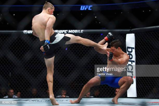 Niko Price of United States kicks Alan Jouban of United States during the UFC Fight Night Mexico City at Arena Ciudad de Mexico on August 05 2017 in...