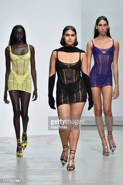 Niko Riam, a model and a model walks the runway during the Mugler Womenswear Spring/Summer 2020 show as part of Paris Fashion Week on September 25,...
