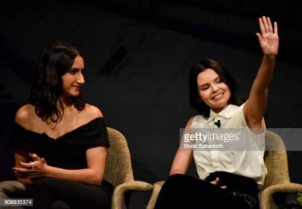 Nikohl Boosheri and Eline Powell speak on stage at Freeform Summit on January 18 2018 in Hollywood California