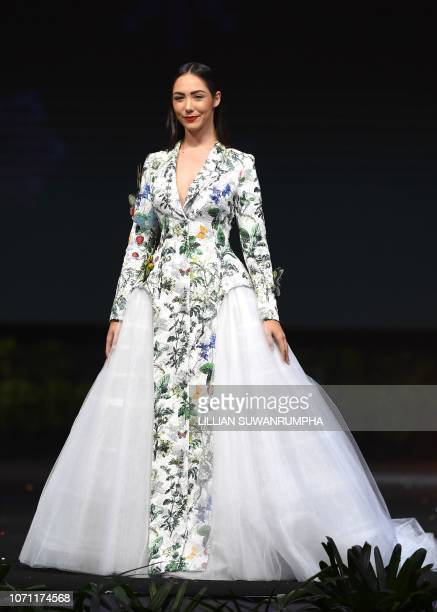 Nikol Reznikov Miss Israel 2018 walks on stage during the 2018 Miss Universe national costume presentation in Chonburi province on December 10 2018