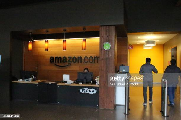 Nikol Szymul staffs a reception desk at Amazon offices discretely tucked into a building called Fiona in downtown Seattle Washington on May 11 2017...