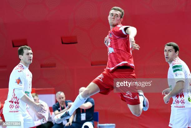 Nikola Bilyk of Austria shoots to score during the preliminary round group B match of the Men's 2018 EHF European Handball Championship between...