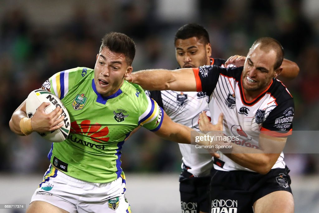 Nikola Cotric of the Raiders is tackled during the round seven NRL match between the Canberra Raiders and the New Zealand Warriors at GIO Stadium on April 15, 2017 in Canberra, Australia.