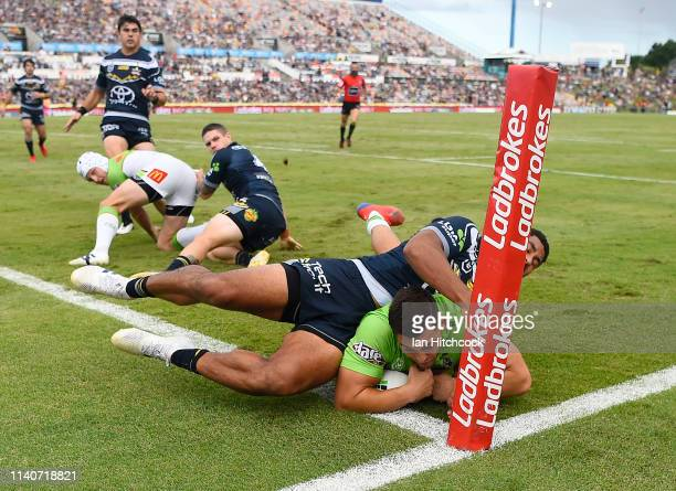 Nikola Cotric of the Raiders scores a try during the round four NRL match between the North Queensland Cowboys and the Canberra Raiders at 1300SMILES...