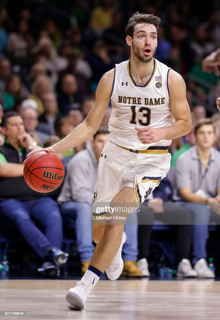 Nikola Djogo #13 of the Notre Dame Fighting Irish drives to the basket during the game against the Miami (Fl) Hurricanes at Purcell Pavilion on February 19, 2018 in South Bend, Indiana.