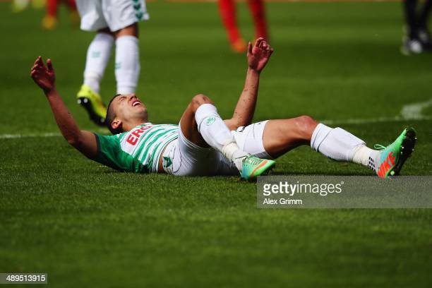 Nikola Djurdjic of Greuther Fuerth reacts during the Second Bundesliga match between Greuther Fuerth and SV Sandhausen at TrolliArena on May 11 2014...
