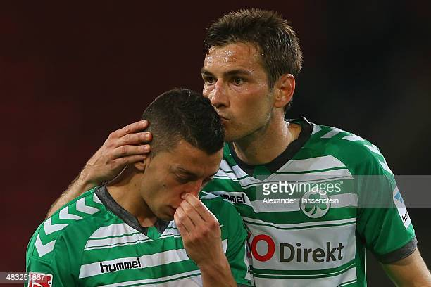 Nikola Djurdjic of Greuther Fuerth reacts with his team mate Goran Sukalo after the Second Bundesliga match between FC Ingolstadt and Greuther Fuerth...
