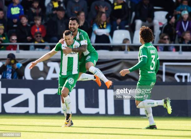 Nikola Djurdjic of Hammarby celebrates after scoring to 12 during the Allsvenskan match between BK Hacken and Hammarby IF at Bravida Arena on April...