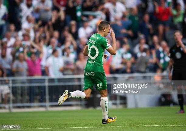 Nikola Djurdjic of Hammarby celebrates after scoring to 22 during the Allsvenskan match between Hammarby IF and Malmo FF at Tele2 Arena on May 16...
