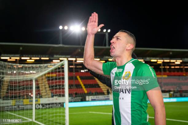 Nikola Djurdjic of Hammarby IF cheers to the fans after the Allsvenskan match between Ostersunds FK and Hammarby IF at Jamtkraft Arena on October 27...