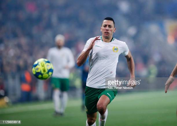Nikola Djurdjic of Hammarby IF during the Svenska Cupen Quarterfinal match between Djurgardens IF and Hammarby IF at Tele2 Arena on March 10 2019 in...