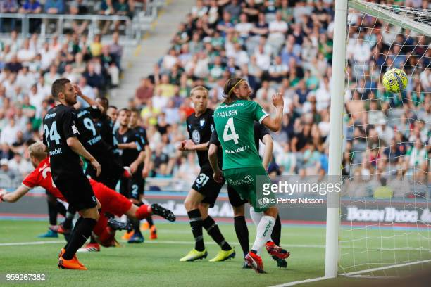 Nikola Djurdjic of Hammarby scores to 11 during the Allsvenskan match between Hammarby IF and Malmo FF at Tele2 Arena on May 16 2018 in Stockholm...