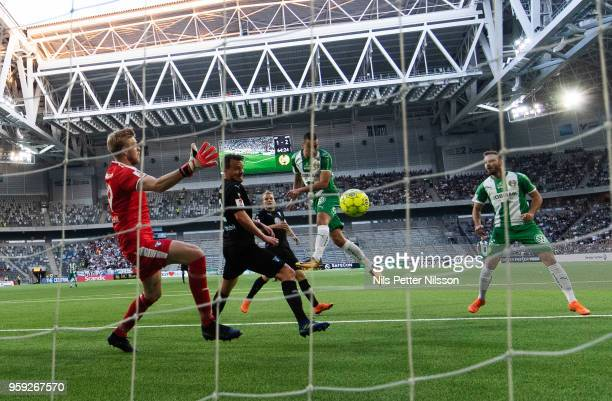 Nikola Djurdjic of Hammarby scores to make it 22 during the Allsvenskan match between Hammarby IF and Malmo FF at Tele2 Arena on May 16 2018 in...