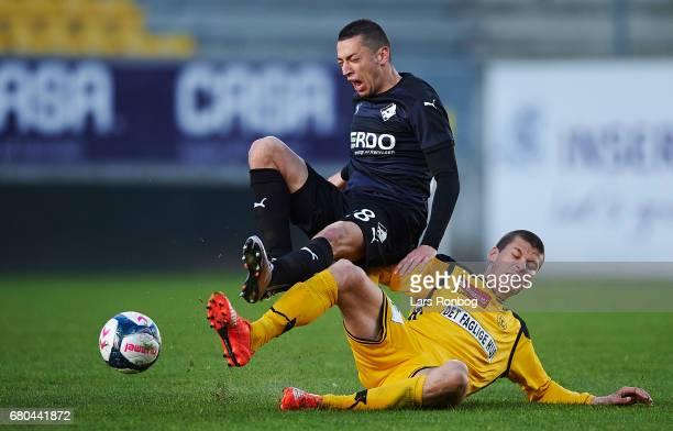 Nikola Djurdjic of Randers FC and Elfar Freyr Helgason of AC Horsens compete for the ball during the Danish Alka Superliga match between AC Horsens...