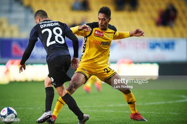 Nikola Djurdjic of Randers FC and Mikkel Mena Qvist of AC Horsens compete for the ball during the Danish Alka Superliga match between AC Horsens and...