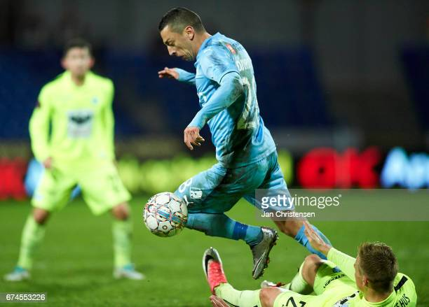 Nikola Djurdjic of Randers FC compete for the ball during the Danish Alka Superliga match between Randers FC and Esbjerg fB at BioNutria Park Randers...