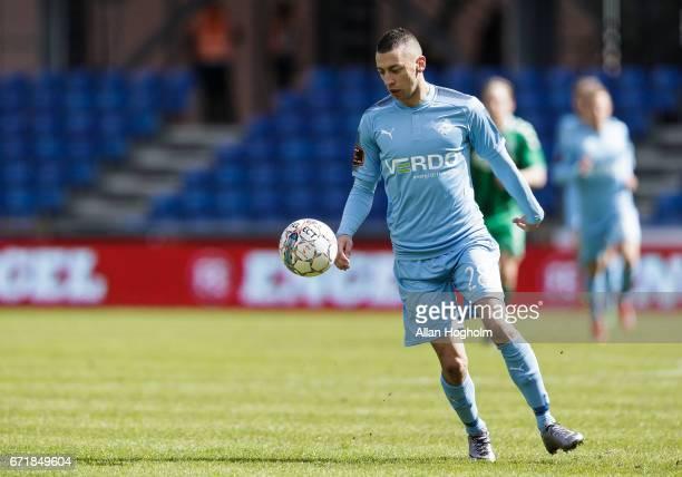 Nikola Djurdjic of Randers FC controls the ball during the Danish Alka Superliga match between Randers FC and OB Odense at BioNutria Park on April 23...