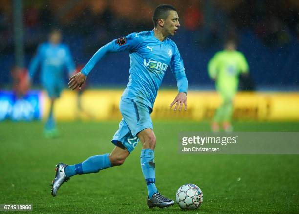 Nikola Djurdjic of Randers FC controls the ball during the Danish Alka Superliga match between Randers FC and Esbjerg fB at BioNutria Park Randers on...
