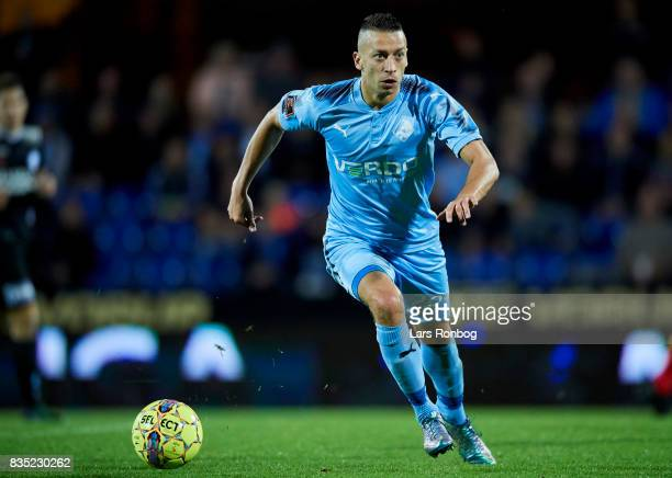 Nikola Djurdjic of Randers FC controls the ball during the Danish Alka Superliga match between Randers FC and Silkeborg IF at BioNutria Park on...