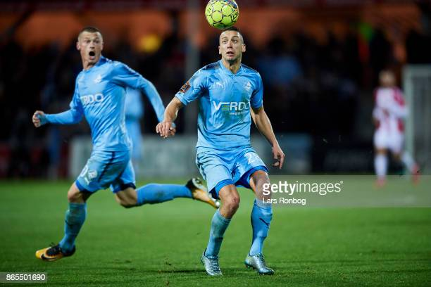 Nikola Djurdjic of Randers FC controls the ball during the Danish Alka Superliga match between Randers FC and AaB Aalborg at BioNutria Park on...