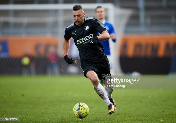 Nikola Djurdjic of Randers FC controls the ball during the Danish Alka Superliga match between Lyngby BK and Randers FC at Lyngby Stadion on November...