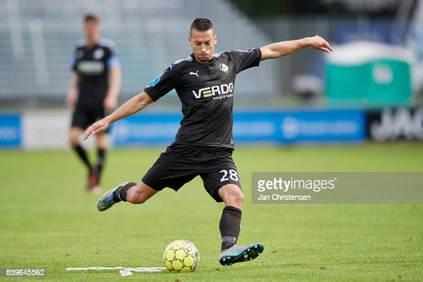 Nikola Djurdjic of Randers FC in action during the Danish Alka Superliga match between FC Helsingor and Randers FC at Helsingor Stadion on August 26...