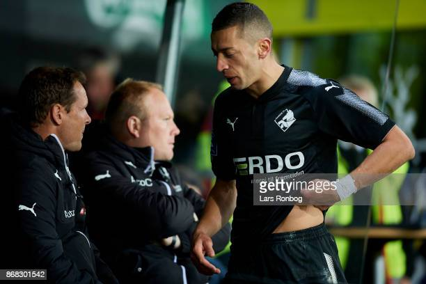 Nikola Djurdjic of Randers FC looks dejected during the Danish Alka Superliga match between Brondby IF and Randers FC at Brondby Stadion on October...