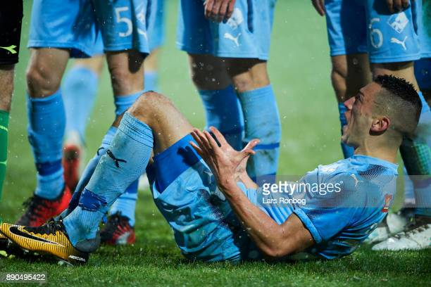 Nikola Djurdjic of Randers FC shows frustration during the Danish Alka Superliga match between Randers FC and FC Midtjylland at BioNutria Park on...