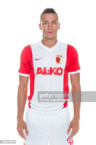 Nikola Djurdjic poses during the FC Augsburg team presentation at SGLArena on July 16 2014 in Augsburg Germany